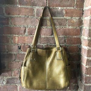 Vintage Fossil Olive Green Leather Satchel HandBag